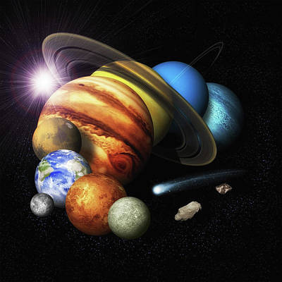 Photograph - Solar System Planets Montage by Ram Vasudev