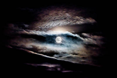 Photograph - Moon Rise Through Sunset Large by Steven Poulton