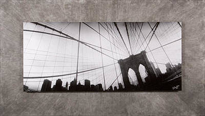 Suspension Mixed Media - Sold - Brooklyn Bridge by Christine Hauber