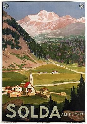 Mountain Mixed Media - Solda 1900 - Sulden, Italy - View Of Mountains - Retro travel Poster - Vintage Poster by Studio Grafiikka