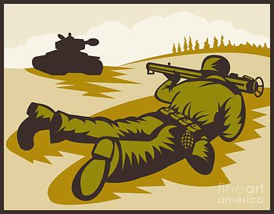 Soldier Aiming Bazooka Art Print by Aloysius Patrimonio