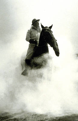 Horseback Photograph - Soldier And Horse Wearing A Gas Mask During The Battle Of Verdun by French School