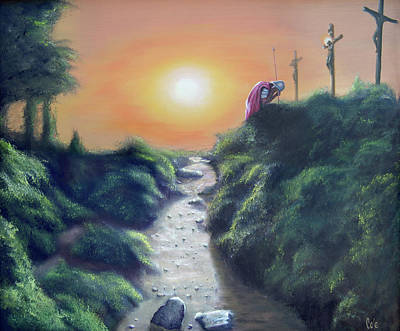 Religious Art Painting - Soldier At The Cross by Larry Cole