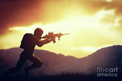 Usa Photograph - Soldier In Combat Shooting With His Weapon, Rifle. War, Army Concept by Michal Bednarek