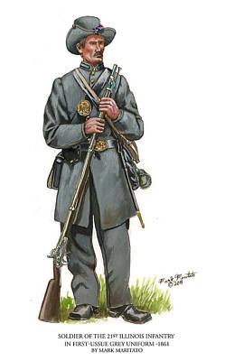 Soldier Of The 21st Illinois - 1861 Original by Mark Maritato