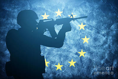 World Peace Photograph - Soldier On Grunge European Union Flag by Michal Bednarek