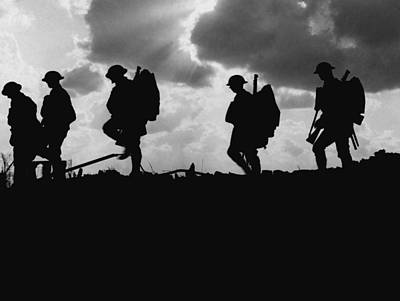 Historian Photograph - Soldier Silhouettes - Battle Of Broodseinde  by War Is Hell Store