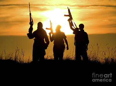 Jihad Photograph - Soldiers Against A Sunset by Oleg Zabielin