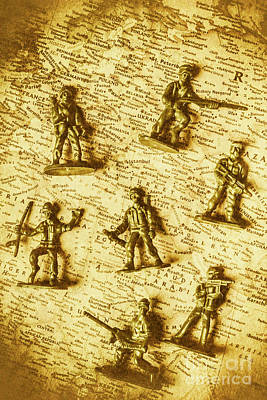 Soldiers And Battle Maps Art Print by Jorgo Photography - Wall Art Gallery