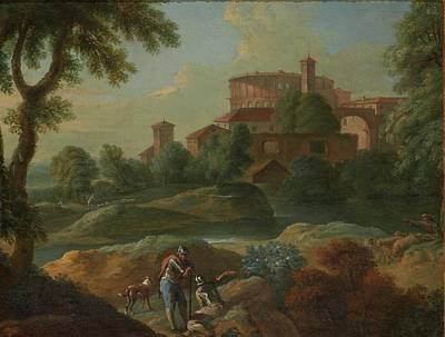 Dog In Landscape Painting - Soldiers And Dogs Near A River by Marcantonio
