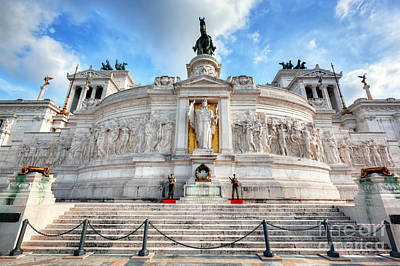 Photograph - Soldiers Guard The Tomb Of The Unknown Soldier At The Altare Della Patria Monument In Rome by Michal Bednarek