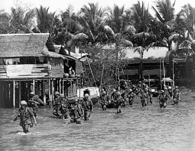 Sixties Photograph - Soldiers In The Mekong Delta by Underwood Archives