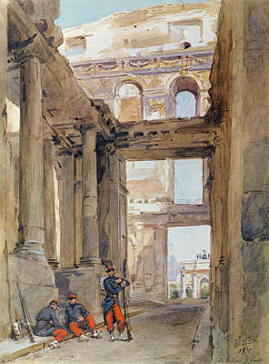 Destruction Drawing - Soldiers In The Ruins Of The Tuileries by Isidore Pils