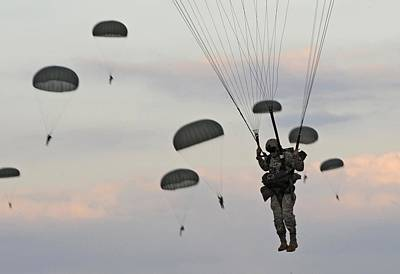 Photograph - Soldiers Of The 82nd Airborne Descend by Everett