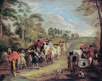 Caravan Painting - Soldiers On The March by Jean-Antoine Watteau