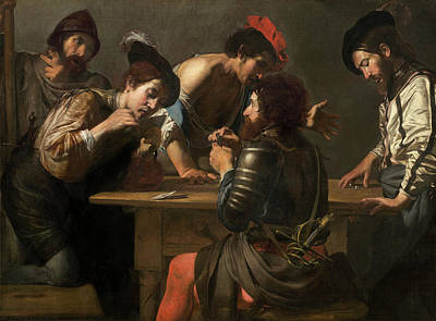 Playing Cards Painting - Soldiers Playing Cards And Dice, The Cheats by Valentin de Boulogne