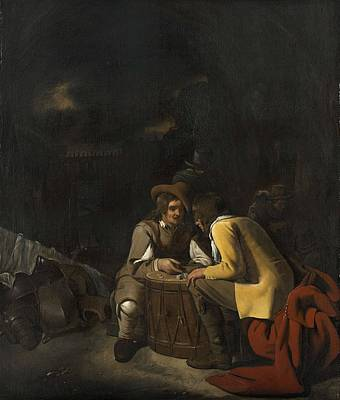 Male Painting - Soldiers Playing Dice Ca. 1656 - 1658 By Michiel Sweerts by Michiel Sweerts