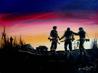 Soldiers Pray II Art Print by Randall Easterling