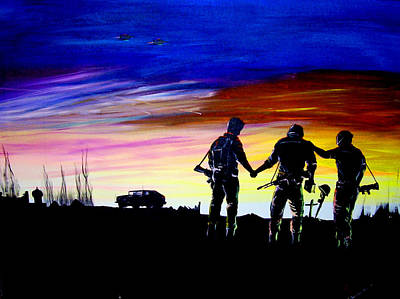 Iraq Painting - Soldiers Pray by Randall Easterling