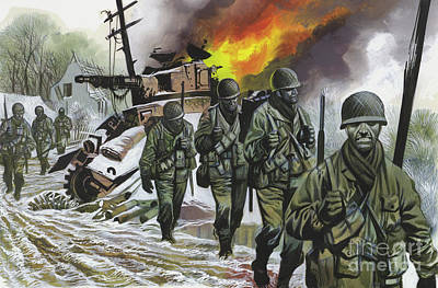 Painting - Soldiers Tramp Through Snow-covered Countryside In World War I  by Ron Embleton
