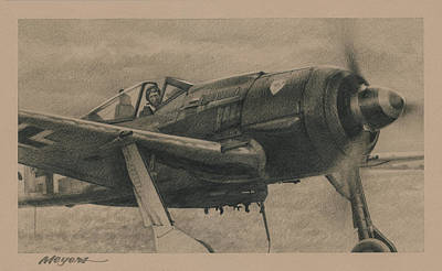 Aviator Drawing - Solid Brass by Wade Meyers