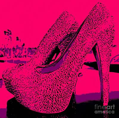 Stillettos Painting - Solid Pink High Heels  by Catherine Lott