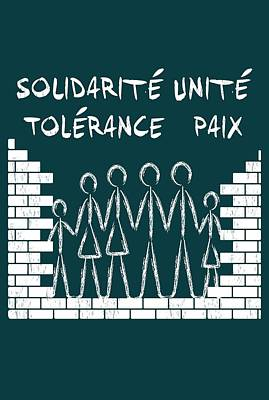Digital Art - Solidarite Unite Tolerance Paix by WB Johnston