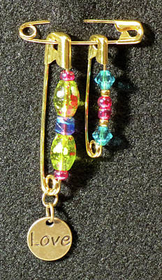Handmade Lampwork Beads Jewelry - Solidarity Safety Pin 05 by Julie Turner