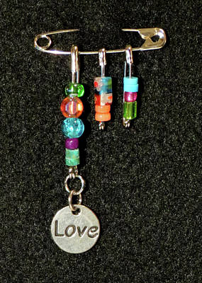 Handmade Lampwork Beads Jewelry - Solidarity Safety Pin 06 by Julie Turner