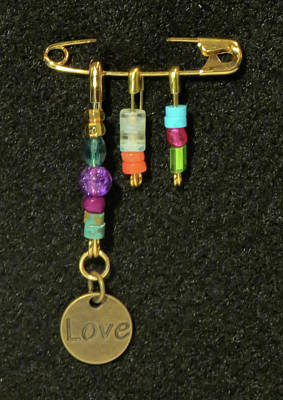 Handmade Lampwork Beads Jewelry - Solidarity Safety Pin 08 by Julie Turner