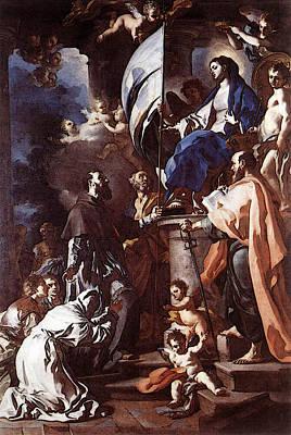 Sepulchre Digital Art - Solimena Francesco St Bonaventura Receiving The Banner Of St Sepulchre From The Madonna by Francesco Solimena