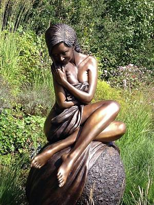 Figurative Sculpture - Solitaire Life Size Bronze by J Anne Butler