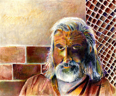 Elderly People Painting - Solitary by Arline Wagner