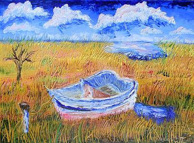 Solitary Boat  Art Print by Warren Thompson