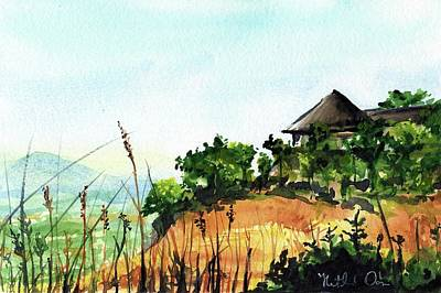 Art Print featuring the painting Solitary Cottage In Malawi by Dora Hathazi Mendes