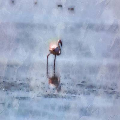 Painting - Solitary Flamingo Watercolor by Tracey Harrington-Simpson