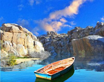 Stream Digital Art - Solitary Skiff by Snake Jagger