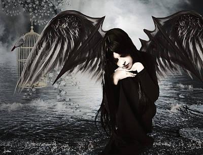 Companion Mixed Media - Solitary Vampiress by G Berry