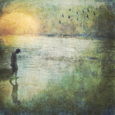 Solitary--walking In Water Art Print by Melissa D Johnston