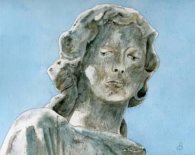 Statue Portrait Painting - Solitude. A Cemetery Statue by Brenda Owen