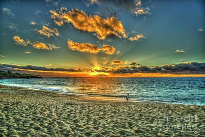 Photograph - Solitude Waimea Bay Sunset North Shore Oahu Hawaii Collection Art by Reid Callaway