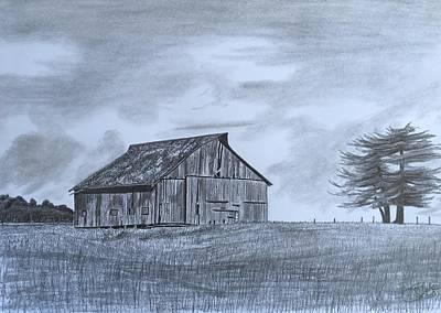 Old Barn Drawing - Solitude  by Tony Clark