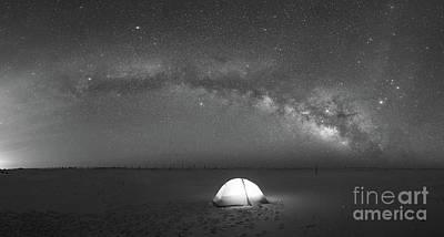 Solitude Under The Stars Pano Bw Art Print