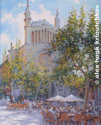 Painting - Soller Cafe by Alex Hook Krioutchkov