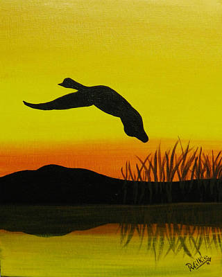 Canadian Geese Painting - Solo Flight by Doug Wilkie