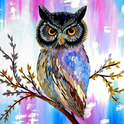 Solstice Owl Art Print by Cathy Jacobs