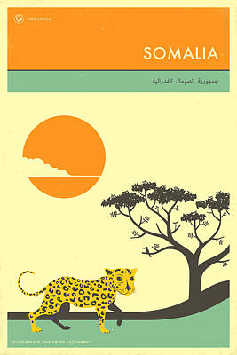 Leopard Wall Art - Digital Art - Somalia Travel Poster by Jazzberry Blue
