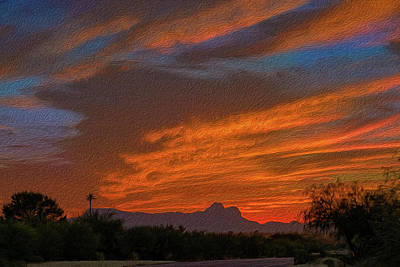 Mark Myhaver Rights Managed Images - Sombrero Peaks Sunset op10 Royalty-Free Image by Mark Myhaver