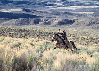 Working Cowboy Photograph - Galloping Through The Sage by Barb Young