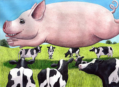 Cow Painting - Some Pig by Catherine G McElroy